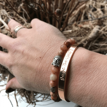 Kant Agaat met open rose just be you armband