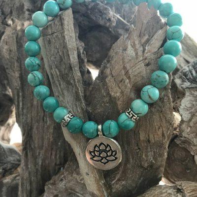 Armband met natuursteen Turquoise met lotusbloem